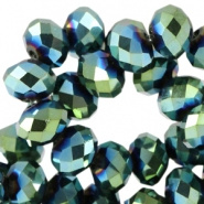 Facetkraal blauw groen metallic 8x6 mm 72 stuks