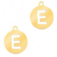 Bedel initial E goudkleurig RVS