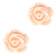 Bloem kraal peach fresh pearl shine roosje 6 mm
