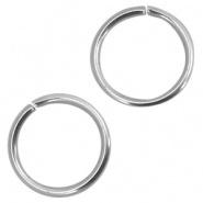 Open ring zilver 8 mm 100 stuks RVS