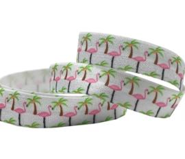 Elastisch lint flamingo palmboom wit