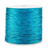Macramé draad blauw azure metallic 0,5 mm