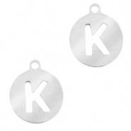 Bedel initial K zilver RVS