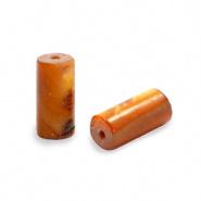 Schelp kraal bruin golden dark 8x4 mm tube