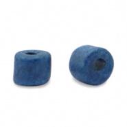 Keramiek kralen blauw donker 5x4 mm Grieks DQ