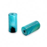 Schelp kraal blauw petrol licht 8x4 mm tube