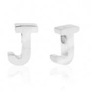 Initiaal letterkraal RVS J zilver