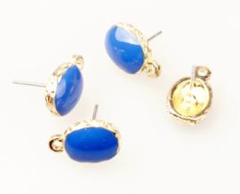 Oorstekers goud blauw royal