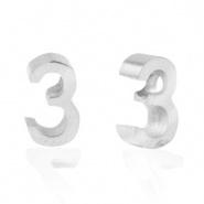 Cijferkraal 3 zilver RVS