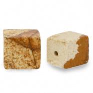 Natuursteen kralen square bruin porcini 4 mm