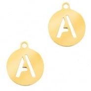 Bedel initial letter A goud RVS