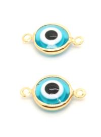 Bedel evil eye blauw goud connector
