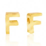 Initiaal letterkraal RVS F goud