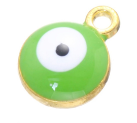 Bedel evil eye groen goud 6 mm
