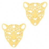 Bedel / connector / tussenstuk leopard goudkleurig