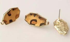 Oorstekers goud animal print bruin