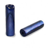 Schelp kraal blauw montana 14x4 mm tube