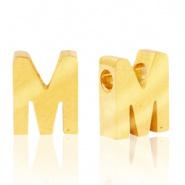 Initiaal letterkraal RVS M goud
