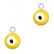 Bedel evil eye geel zilver 6 mm
