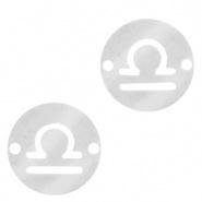 Bedel / tussenstuk sterrenbeeld Weegschaal zilver RVS