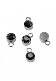 Bedel met strass zwart mini RVS