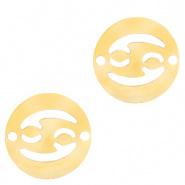 Bedel / tussenstuk sterrenbeeld Kreeft goudkleurig RVS