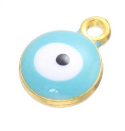 Bedel evil eye blauw aqua goudkleurig 6 mm