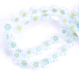 Millefiori kralen bloem wit blauw geel 8 mm disc
