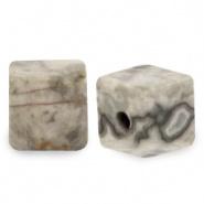 Natuursteen kralen square grijs licht 4 mm