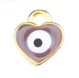 Bedel evil eye bruin goudkleurig 7 mm hartje