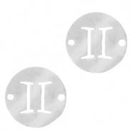 Bedel / tussenstuk sterrenbeeld Tweeling zilver RVS