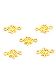 Bedel / connector / tussenstuk lotus goudkleurig