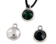 Bedel met strass kristal groen donker
