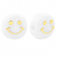 Letterkraal smiley wit goud 7 mm