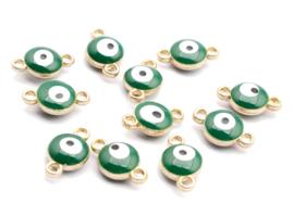Bedel evil eye groen goud 6 mm connector