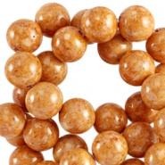 Kraal bruin goud licht 8 mm natuursteen 10 stuks