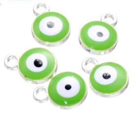 Bedel evil eye groen donker zilver 6 mm