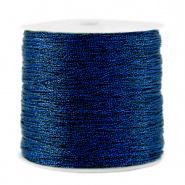 Macramé draad blauw donker metallic 0,5 mm