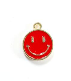 Bedel smiley rood goud 15x12 mm