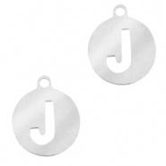 Bedel initial J zilver RVS