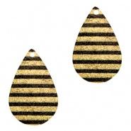 Bedel druppel stripes zwart goudkleurig