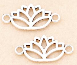 Bedel / connector / tussenstuk lotus zilver