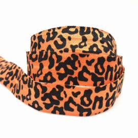 Elastisch lint leopard oranje