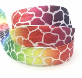 Elastisch lint leopard rainbow