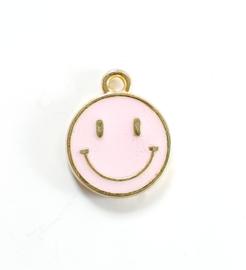 Bedel smiley roze goud 15x12 mm