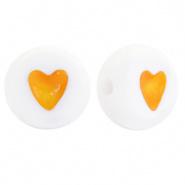 Hartjes kraal wit met oranje