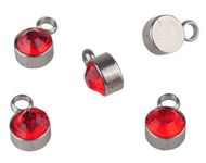 Bedel met strass rood mini RVS