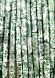 Natuursteen kralen tubes groen wit mixed