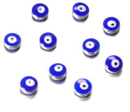 Evil eye kralen blauw 10,5x5,9 mm zilver