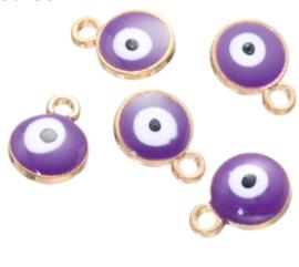 Bedel evil eye paars goud 6 mm
